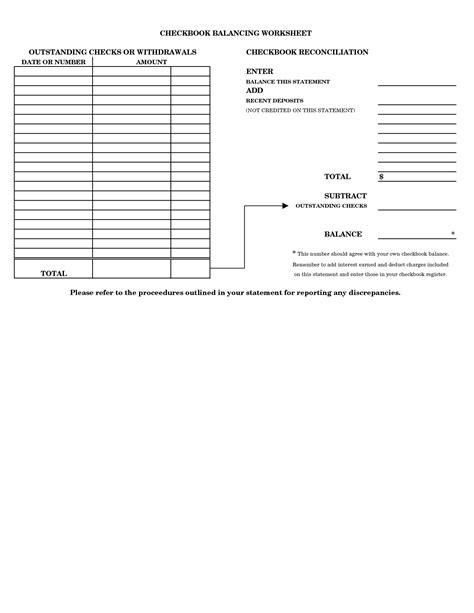 printable checkbook balancing form checkbook balancing