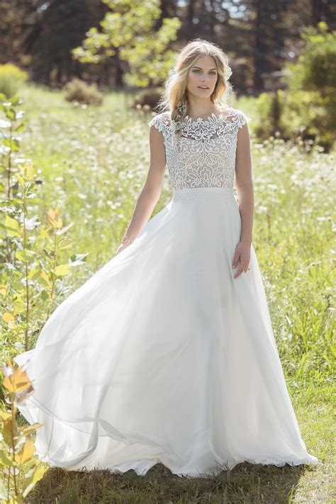 Sabrina Wedding Gown Premium Wedding Gown Style 6493 A Line Gown With Sabrina Neckline And Airy