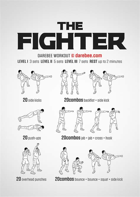 The Fighter workout. | Get Fit: DAREBEE Workouts