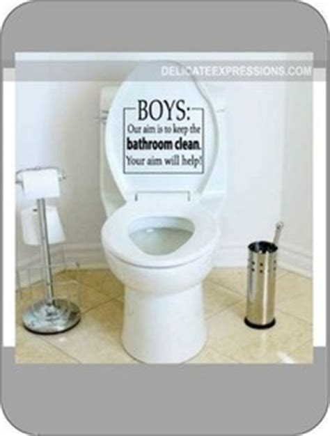 Toilet That Cleans Your Bottom Boys Our Aim Is To Keep The Bathroom Clean Vinyl Wall