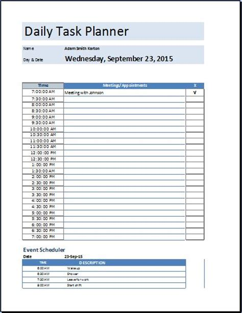 daily planner template xls ms excel daily task planner template word excel templates