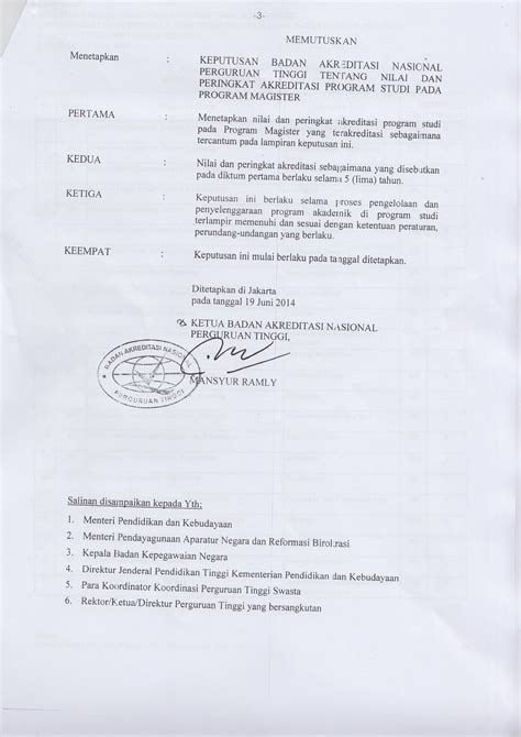 Cara Mendapatkan Surat Akreditasi Dari Ban Pt by Program Magister S 2 Terakreditasi Ban Pt A Program