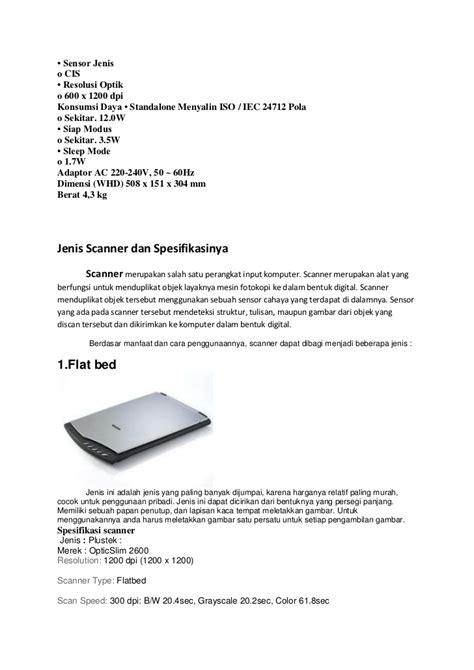 jenis printer dan spesifikasinya