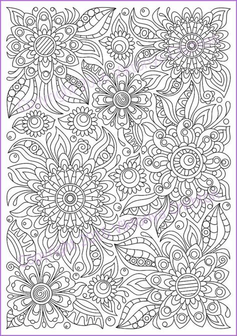 soloring page doodle flowers printable  adults zen