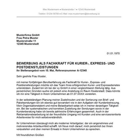 Ausbildung Als Lagerlogistik Bewerbungsschreiben Bewerbung Als Fachkraft F 252 R Kurier Express Und Postdienstleistungen Bewerbung Co