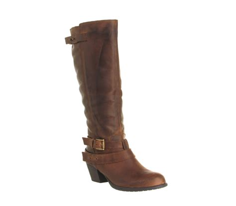 womens office mid heel knee boots brown leather
