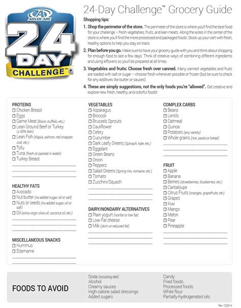advocare 24 day challenge step 2 grocery store shopping list grocery list template