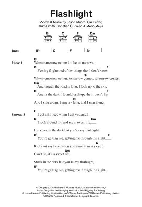j up lyrics flashlight sheet by j lyrics chords 122280