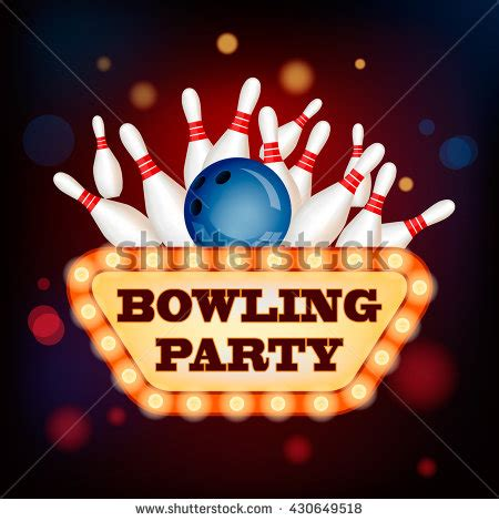 design banner bowling 3d bowling ball into pins retro stock illustration