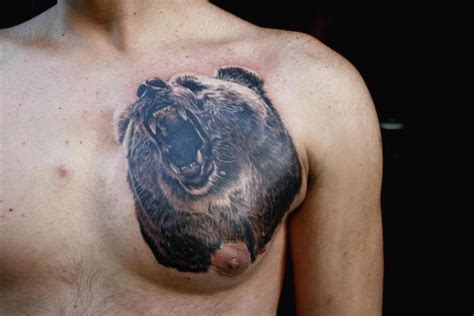 chest tattoo bear realistic chest bear tattoo by piranha tattoo supplies