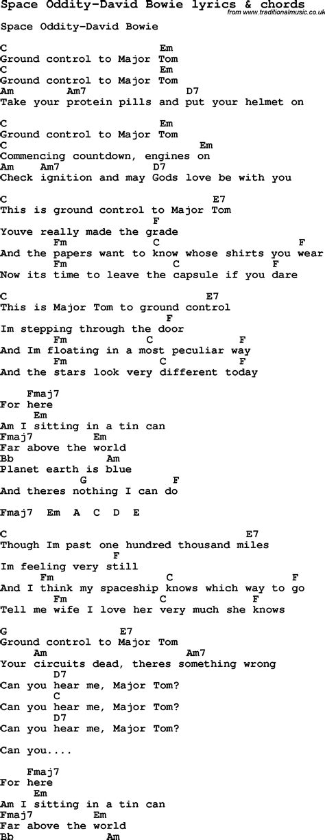 david bowie space oddity testo song lyrics for space oddity david bowie with chords