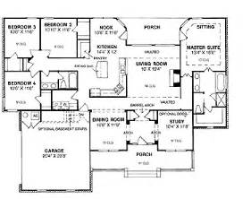 Floor plans aflfpw17698 1 story ranch home with 4 bedrooms 2