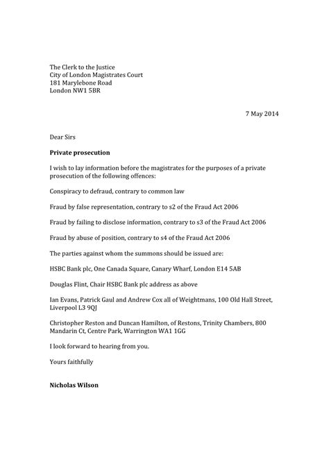 Dispute Letter Hsbc Prosecution Against Hsbc Launched Mr Ethical