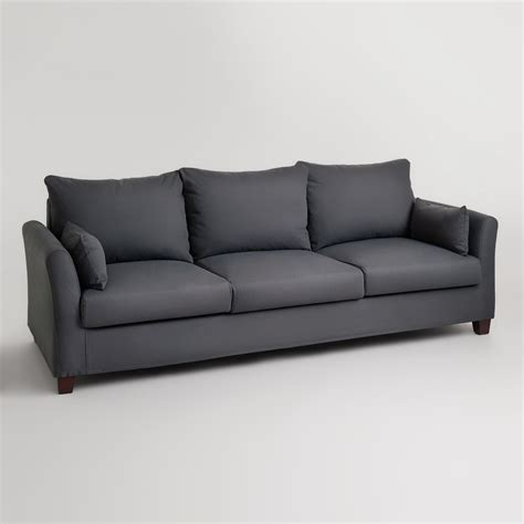 luxe sofa world market charcoal luxe 3 seat sofa frame and cover world market