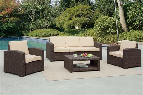 pensacola tan 4 pc outdoor living room set living room sets brown 4pc outdoor set 435 online furniture broker
