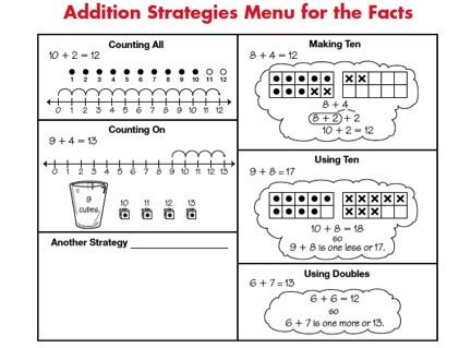 addition strategies worksheets for grade 1 math facts in grade 1 math trailblazers