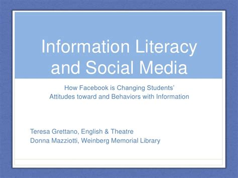 social media health literacy a information literacy and social media how facebook is