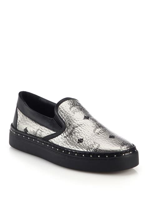 mcm sneakers for mcm visetos canvas slip on sneakers in metallic for lyst
