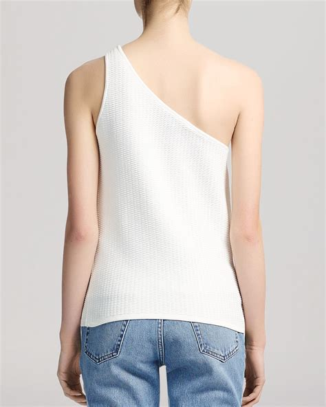 Whistles Top Brava One Shoulder Knit In White Lyst