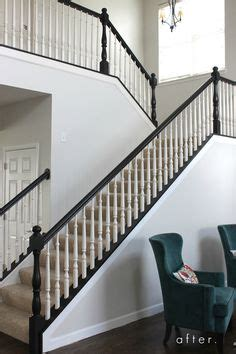 restaining banister rail white newel post charcoal stained handrail white square
