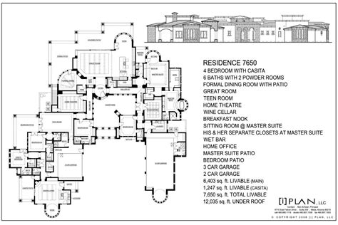 10 000 square foot house plans floor plans 7 501 sq ft to 10 000 sq ft