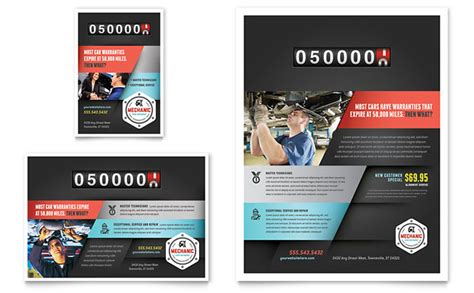 free design templates for advertising auto mechanic flyer ad template design