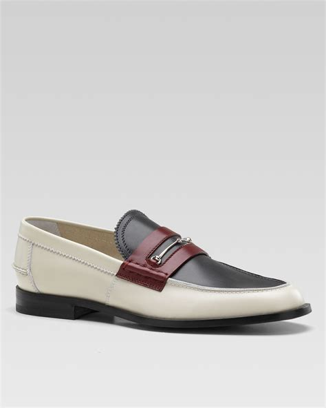 gucci bit loafers gucci dale tri color bit loafer in gray for lyst