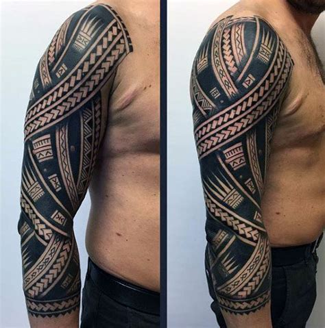 mens upper arm tribal tattoos 75 tribal arm tattoos for interwoven line design ideas