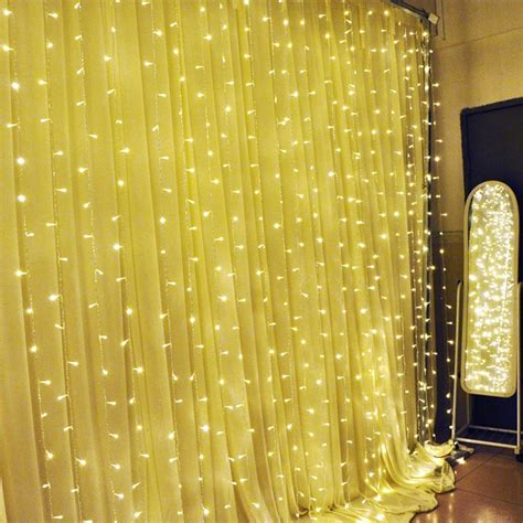 warm white 3x3m 300 led light curtain string fairy lights