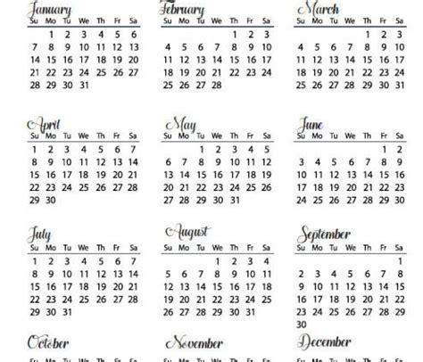 Year At A Glance Calendar 2018 Template