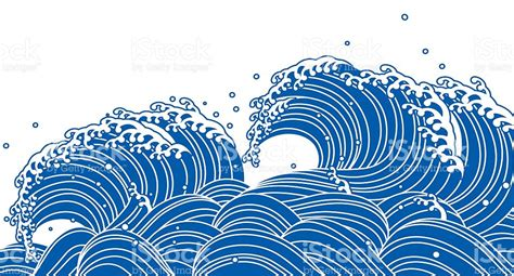 japanese wave pattern vector blue wave japanese style stock vector art more images of
