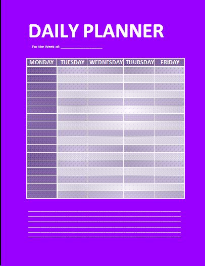 daily planner template free word s templates