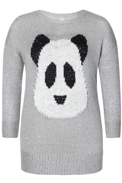 knitting pattern panda jumper grey panda intarsia knitted jumper with sequin detail plus