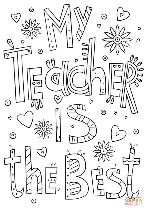 printable coloring pages for your teacher my teacher is the best doodle coloring page free