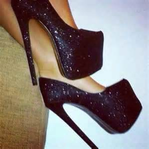 Shoes black glitter high heels high heels sparkle platform heels black