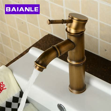 Bathroom Fixtures Direct Deck Mounted Antique Brass Wealth Bamboo Faucet Bathroom