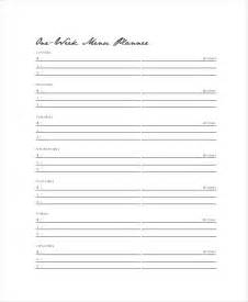 weekly dinner menu planner template weekly menu template 7 free pdf word documents