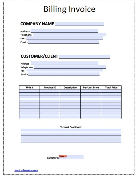 invoice bill template free billing invoice template excel pdf word doc