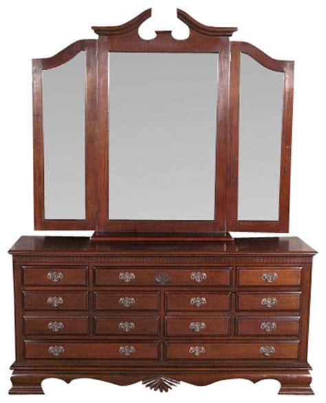 Bedroom Set With Vanity Dresser Solid Mahogany 7 Drawer Chest Vanity Dresser W 3 Beveled Mirrors Traditional Bedroom