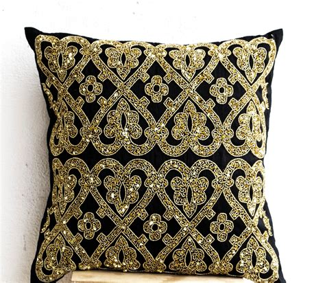 Gold Pillows Decorative by Decorative Throw Pillow Cover Black Gold Sequin Pillows