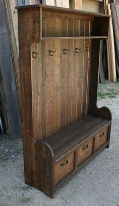 rustic hall tree bench rustic reclaimed hall tree locker bench by echopeakdesign