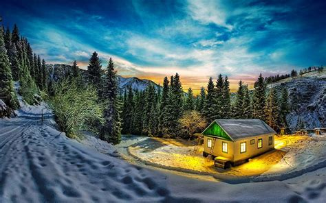lonely  houses lost  majestic winter scenery