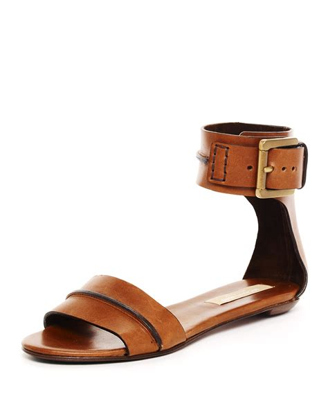 flat shoe with ankle lyst michael kors halter ankle flat sandal in brown