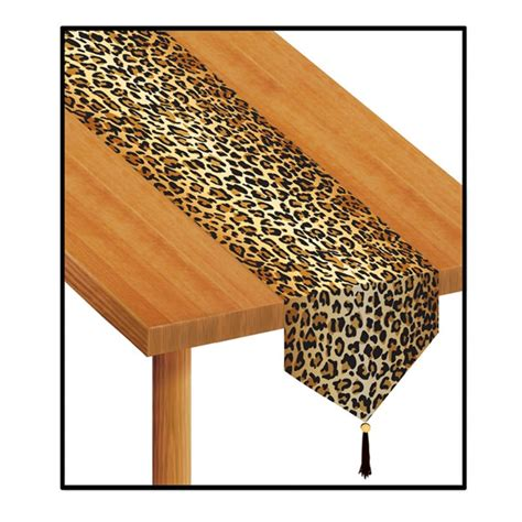 leopard table runner printed leopard print table runner partycheap