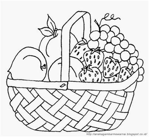 Keranjang Buah gambar mewarnai buah buahan dalam keranjang untuk anak