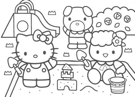 hello kitty beach coloring page beach coloring pages coloring