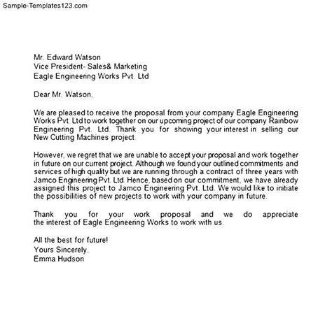 Rfp Decline Letter Exles Rejection Letter Sle Templates
