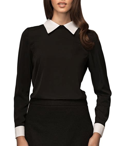 Black Blouse black blouse with white collar trendy clothes