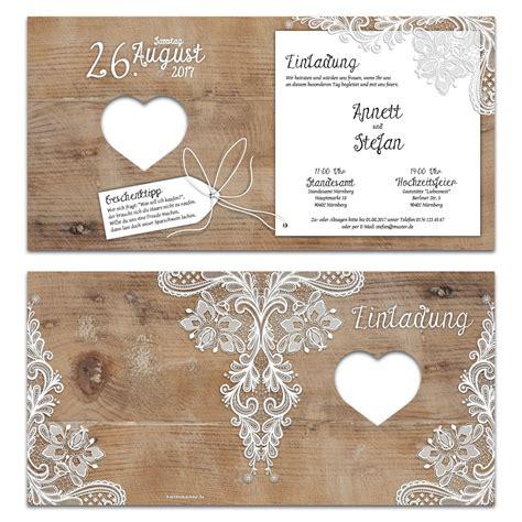 Hochzeitseinladung Rustikal by Lasergeschnittene Hochzeit Einladungskarten Rustikal Mit