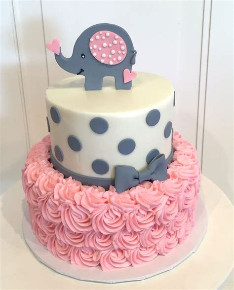 Cake Ideas Baby Shower by Baby Shower Cake With Elephant On Top The Cake Is A Pink